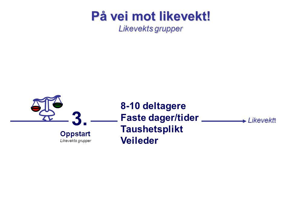 3. På vei mot likevekt! 8-10 deltagere Faste dager/tider Taushetsplikt