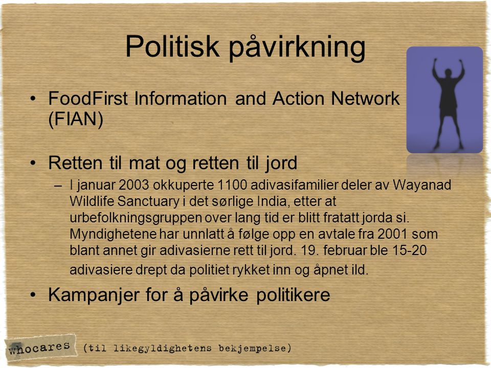 Politisk påvirkning FoodFirst Information and Action Network (FIAN)