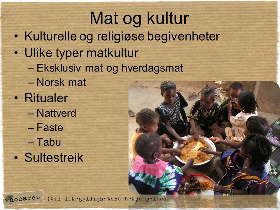 Mat og kultur Kulturelle og religiøse begivenheter