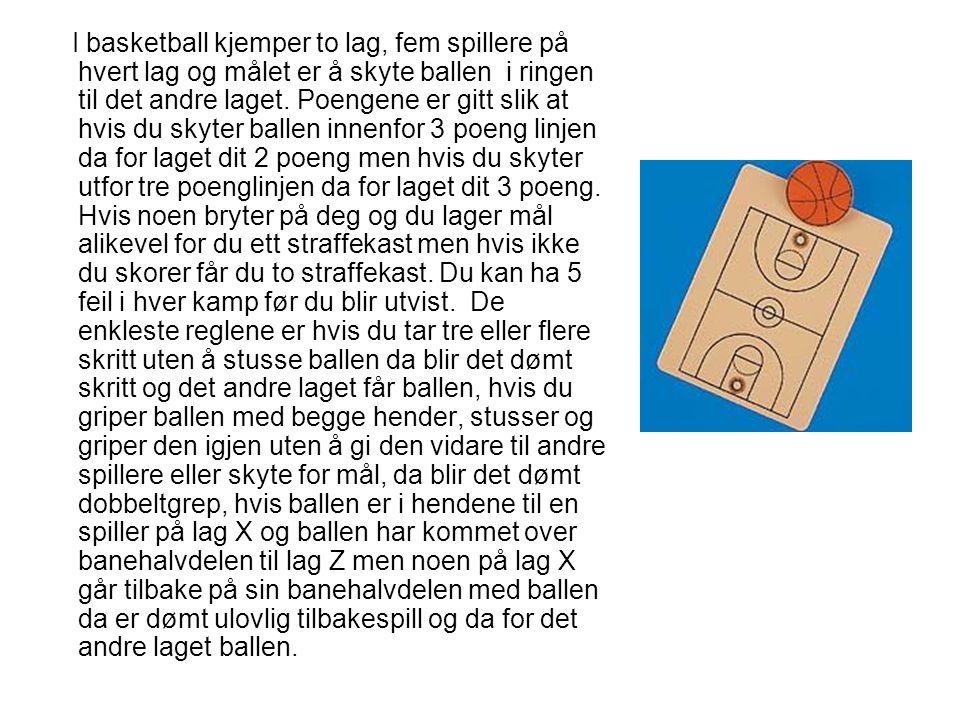 I basketball kjemper to lag, fem spillere på hvert lag og målet er å skyte ballen i ringen til det andre laget.