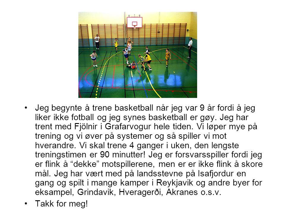 Jeg begynte å trene basketball når jeg var 9 år fordi å jeg liker ikke fotball og jeg synes basketball er gøy. Jeg har trent med Fjölnir i Grafarvogur hele tiden. Vi løper mye på trening og vi øver på systemer og så spiller vi mot hverandre. Vi skal trene 4 ganger i uken, den lengste treningstimen er 90 minutter! Jeg er forsvarsspiller fordi jeg er flink å dekke motspillerene, men er er ikke flink å skore mål. Jeg har vært med på landsstevne på Isafjordur en gang og spilt i mange kamper i Reykjavik og andre byer for eksampel, Grindavik, Hveragerði, Akranes o.s.v.