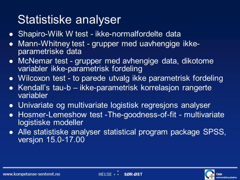 Statistiske analyser Shapiro-Wilk W test - ikke-normalfordelte data