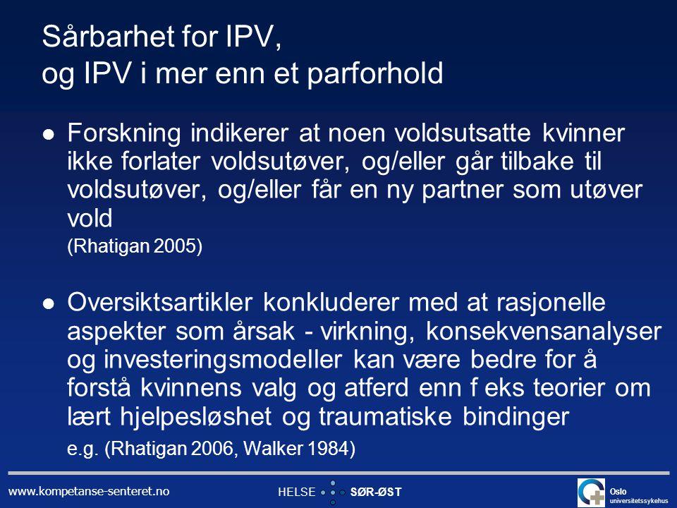 Sårbarhet for IPV, og IPV i mer enn et parforhold