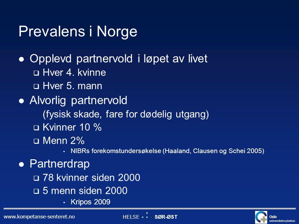 Prevalens i Norge Opplevd partnervold i løpet av livet