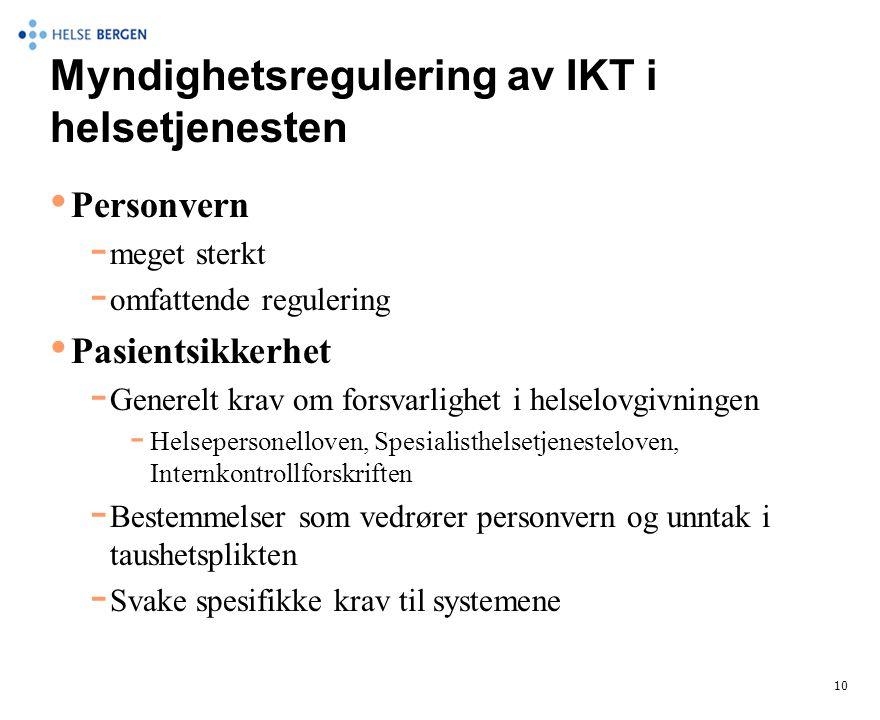 Myndighetsregulering av IKT i helsetjenesten