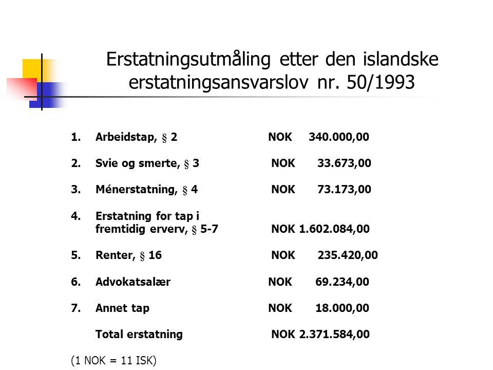Erstatningsutmåling etter den islandske erstatningsansvarslov nr