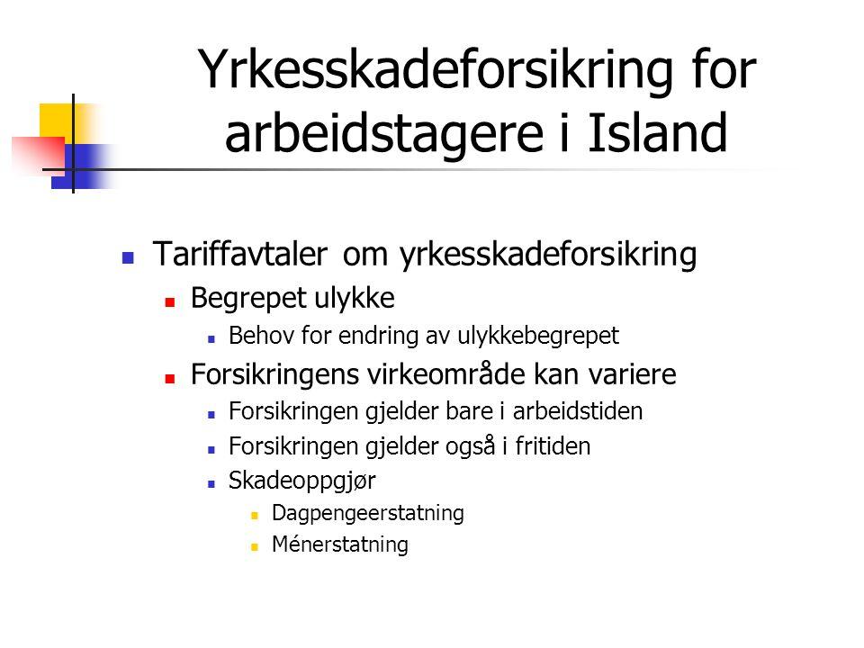 Yrkesskadeforsikring for arbeidstagere i Island