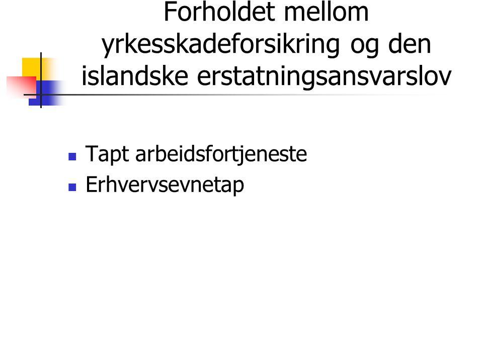 Forholdet mellom yrkesskadeforsikring og den islandske erstatningsansvarslov