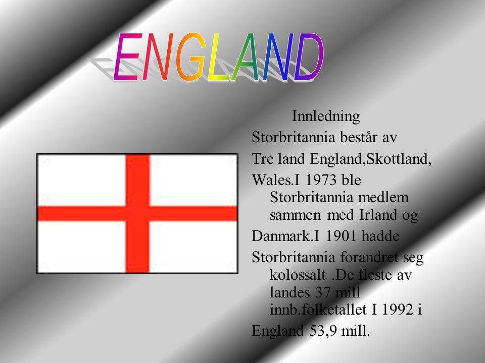 ENGLAND Innledning Storbritannia består av Tre land England,Skottland,