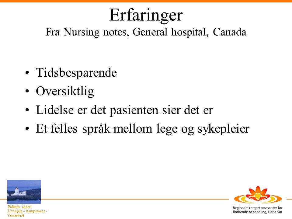 Erfaringer Fra Nursing notes, General hospital, Canada