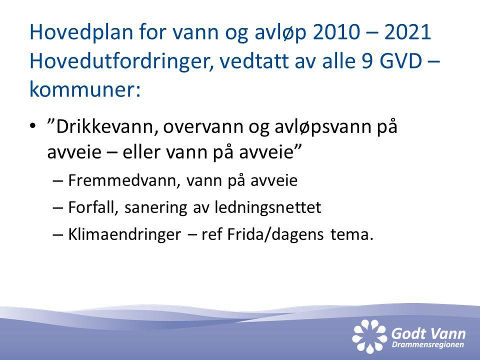 Hovedplan for vann og avløp 2010 – 2021 Hovedutfordringer, vedtatt av alle 9 GVD – kommuner: