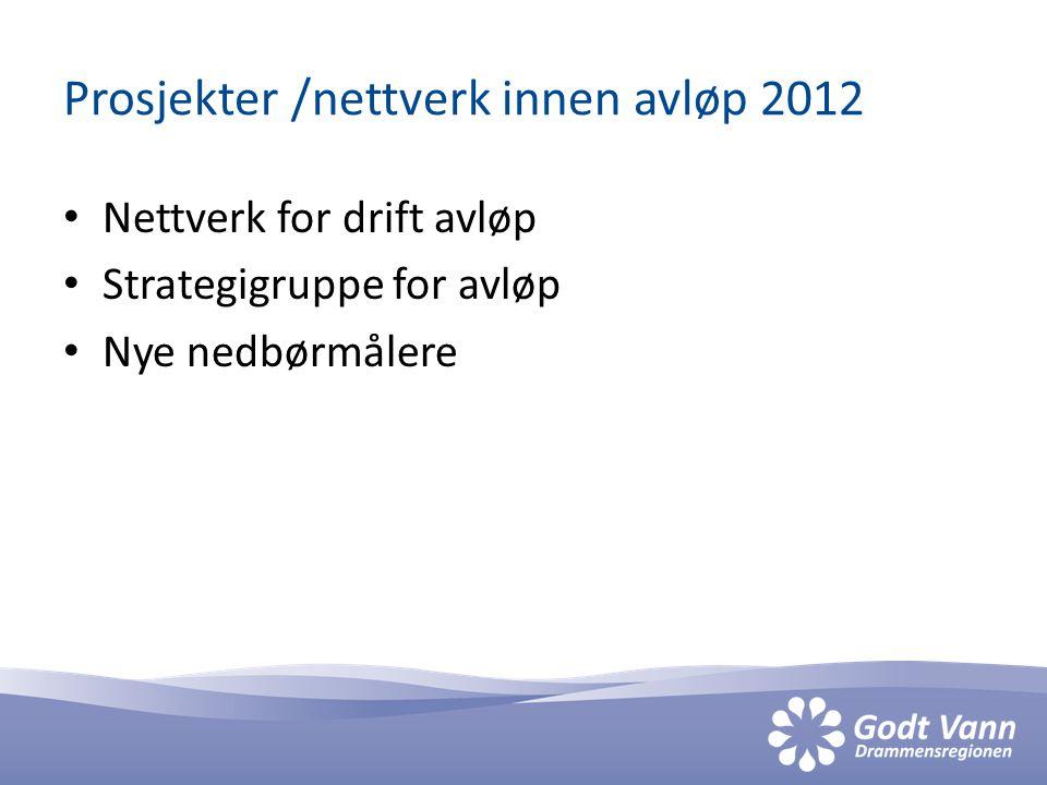 Prosjekter /nettverk innen avløp 2012