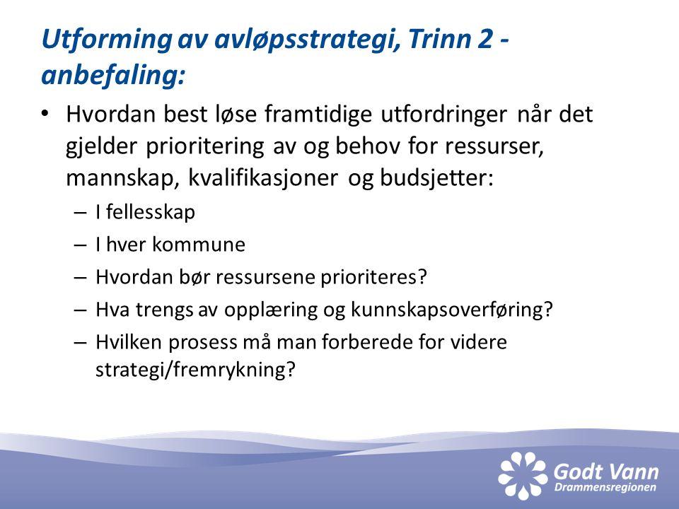 Utforming av avløpsstrategi, Trinn 2 - anbefaling: