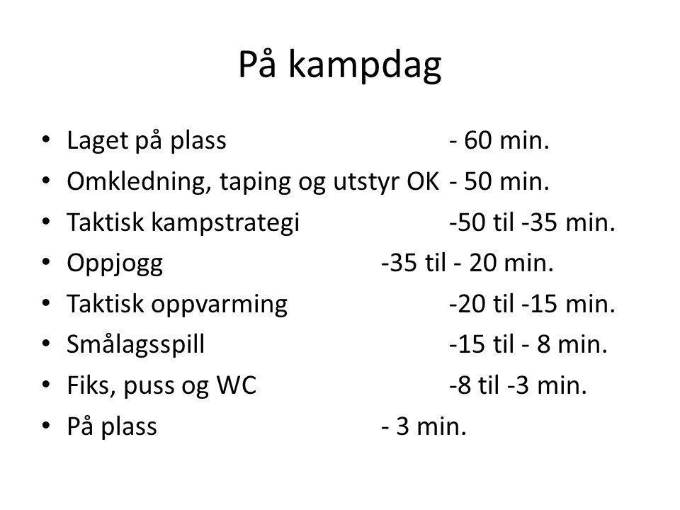 På kampdag Laget på plass - 60 min.