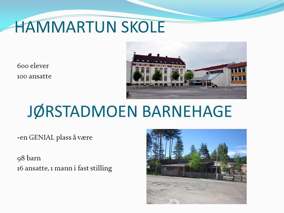 HAMMARTUN SKOLE 600 elever 100 ansatte -en GENIAL plass å være 98 barn 16 ansatte, 1 mann i fast stilling