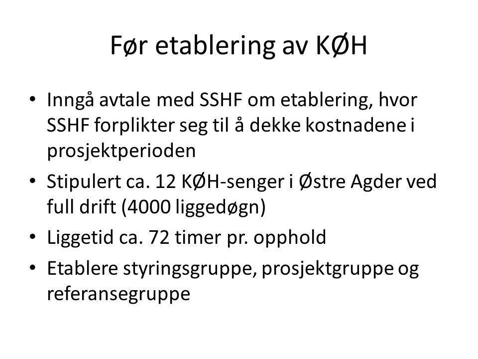 Før etablering av KØH Inngå avtale med SSHF om etablering, hvor SSHF forplikter seg til å dekke kostnadene i prosjektperioden.