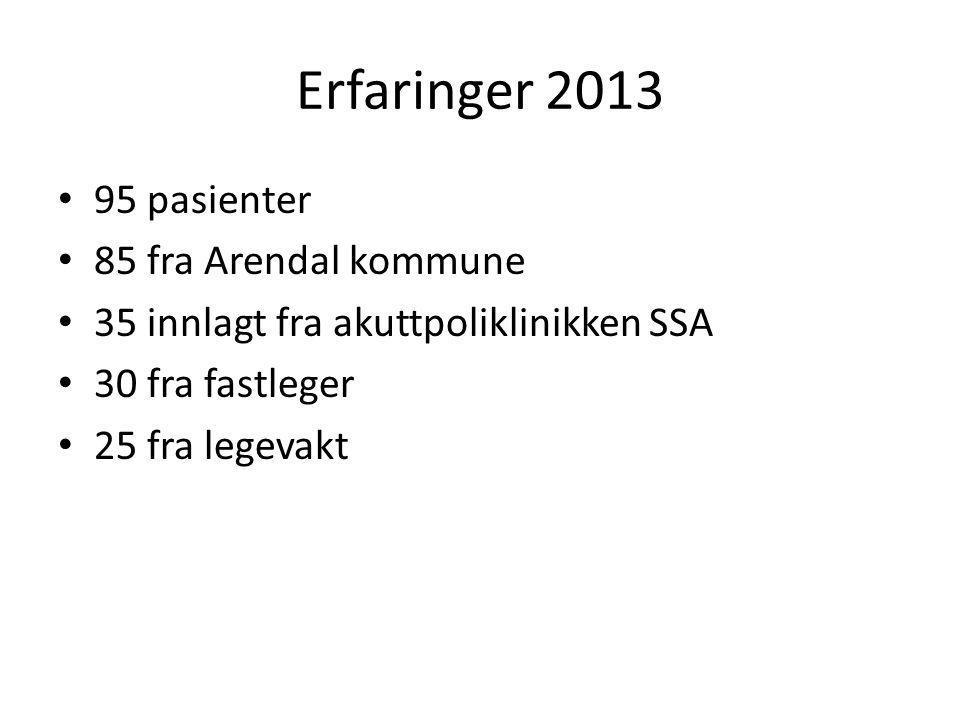 Erfaringer 2013 95 pasienter 85 fra Arendal kommune