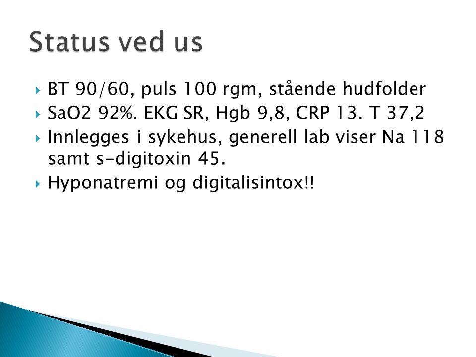 Status ved us BT 90/60, puls 100 rgm, stående hudfolder