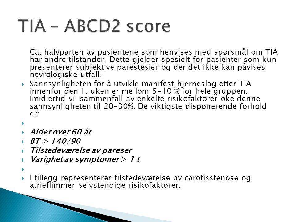 TIA – ABCD2 score