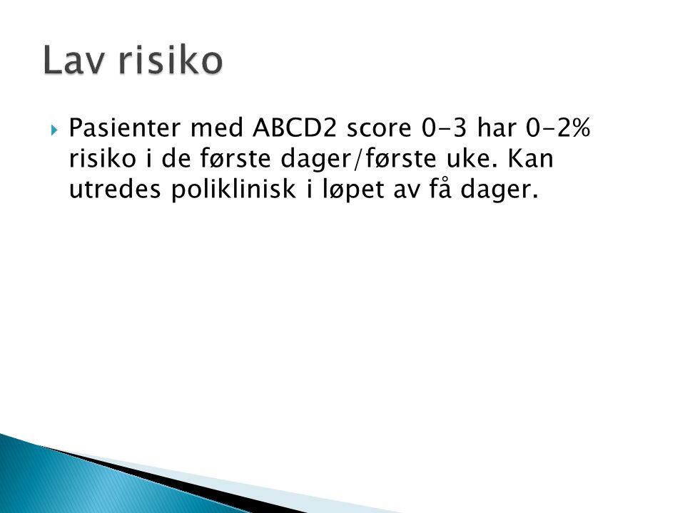 Lav risiko Pasienter med ABCD2 score 0-3 har 0-2% risiko i de første dager/første uke.