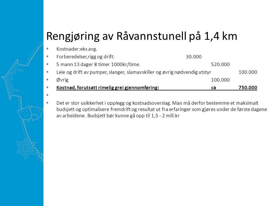 Rengjøring av Råvannstunell på 1,4 km