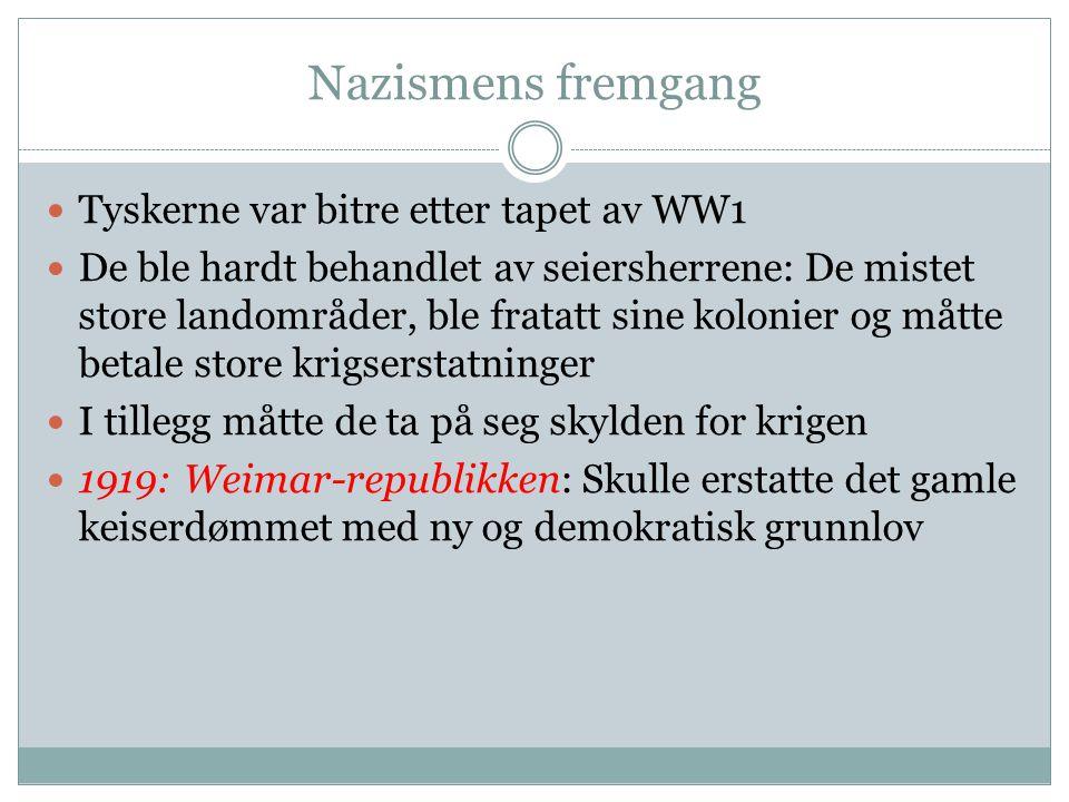 Nazismens fremgang Tyskerne var bitre etter tapet av WW1
