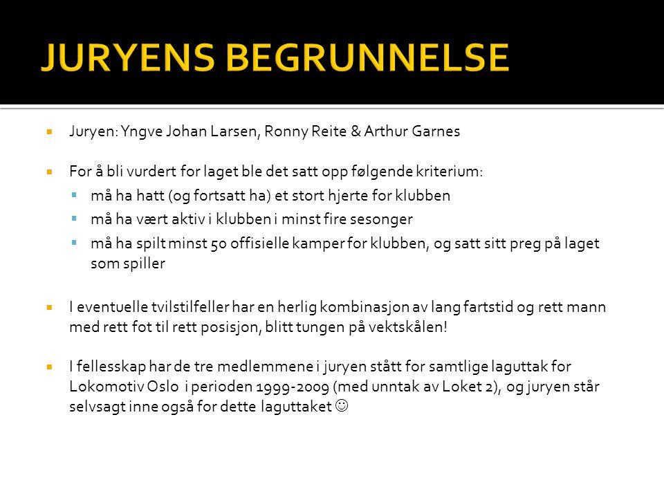 JURYENS BEGRUNNELSE Juryen: Yngve Johan Larsen, Ronny Reite & Arthur Garnes. For å bli vurdert for laget ble det satt opp følgende kriterium: