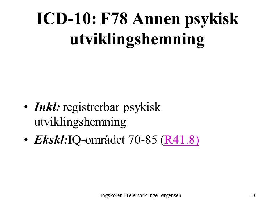 ICD-10: F78 Annen psykisk utviklingshemning