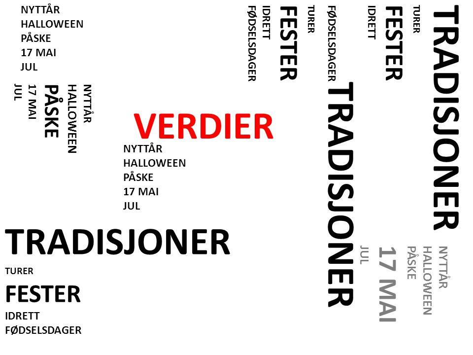 TRADISJONER VERDIER TRADISJONER FESTER 17 MAI FESTER PÅSKE HALLOWEEN
