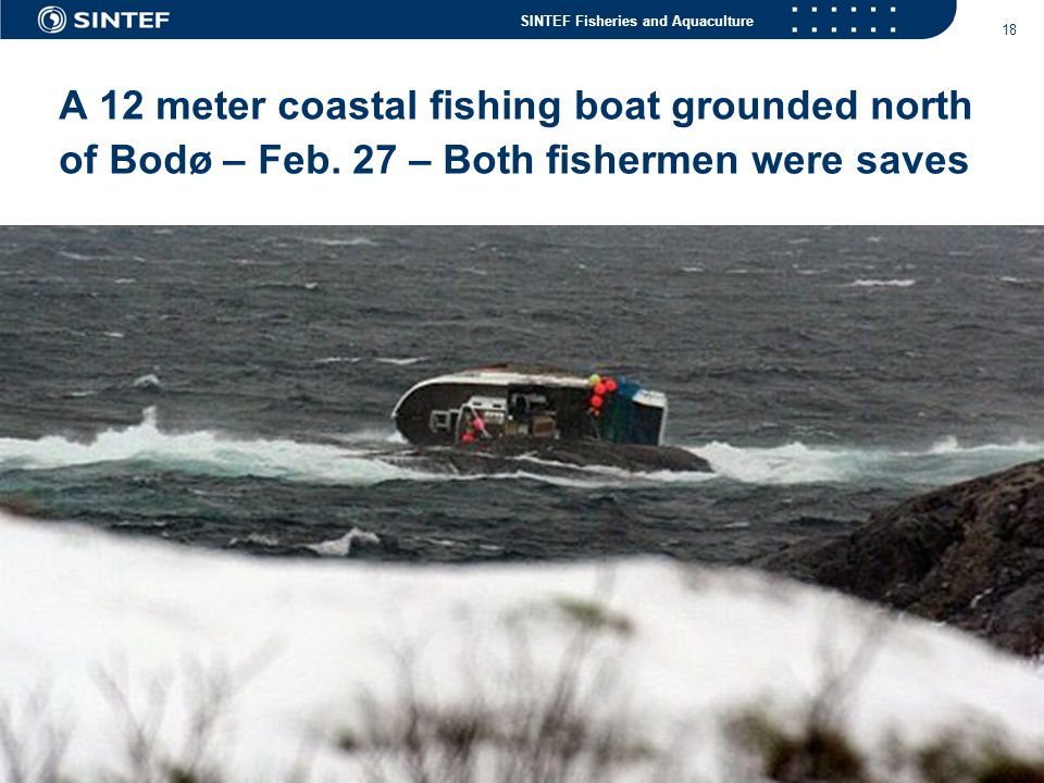 A 12 meter coastal fishing boat grounded north of Bodø – Feb