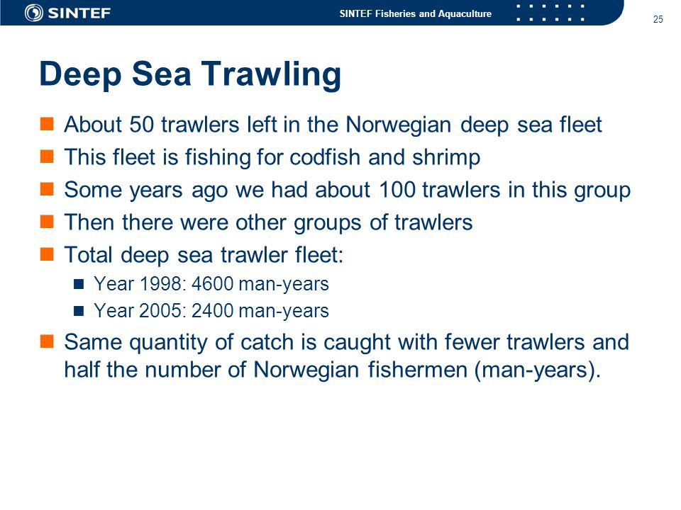 Deep Sea Trawling About 50 trawlers left in the Norwegian deep sea fleet. This fleet is fishing for codfish and shrimp.