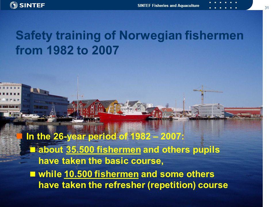 Safety training of Norwegian fishermen from 1982 to 2007