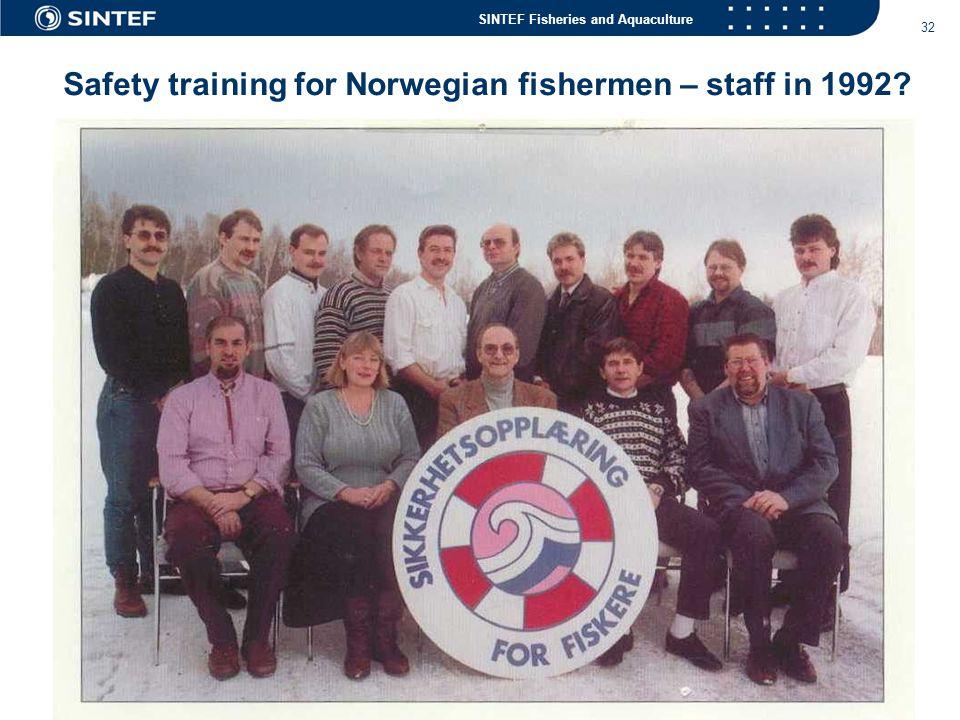 Safety training for Norwegian fishermen – staff in 1992