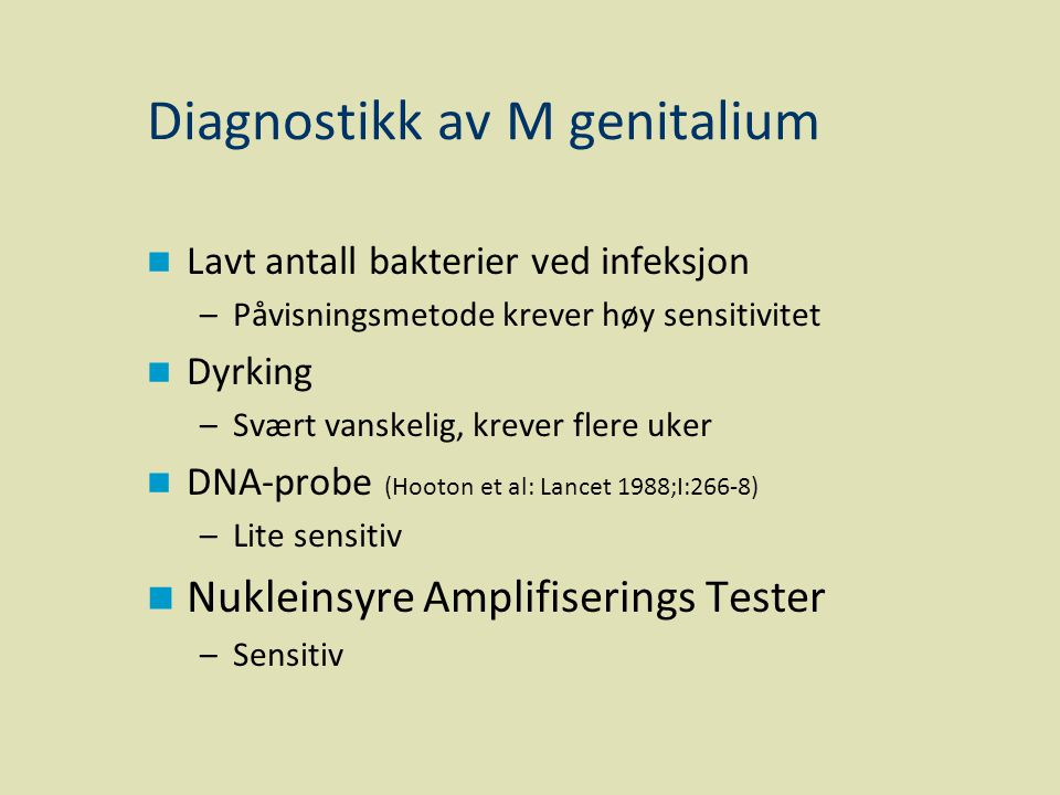 Diagnostikk av M genitalium