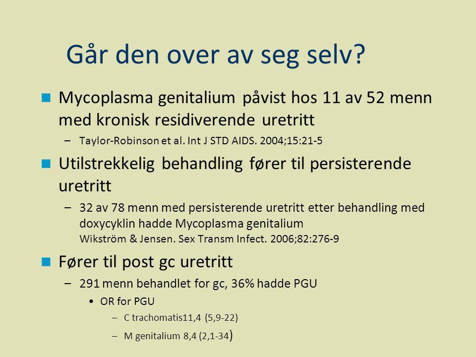 Går den over av seg selv Mycoplasma genitalium påvist hos 11 av 52 menn med kronisk residiverende uretritt.