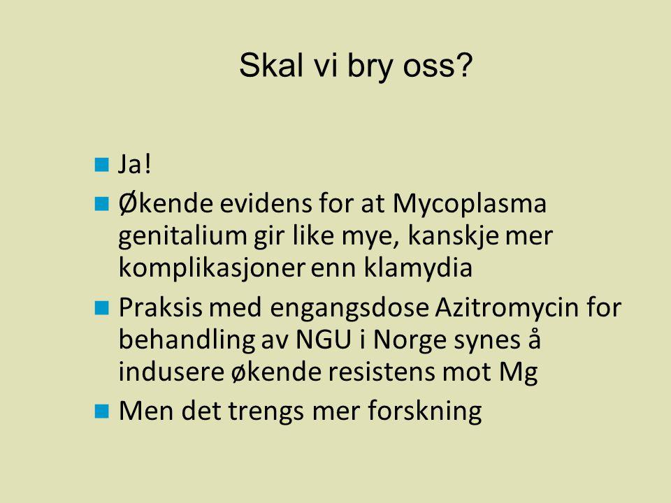 Skal vi bry oss Ja! Økende evidens for at Mycoplasma genitalium gir like mye, kanskje mer komplikasjoner enn klamydia.