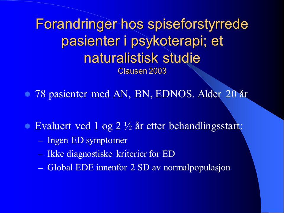Forandringer hos spiseforstyrrede pasienter i psykoterapi; et naturalistisk studie Clausen 2003