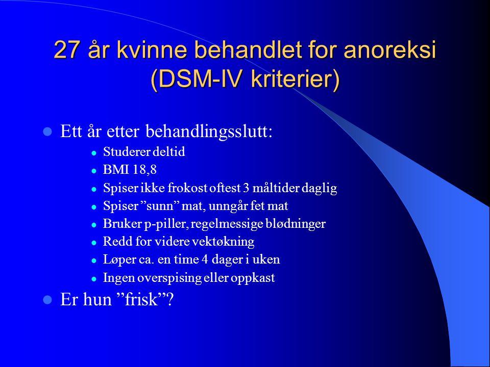 27 år kvinne behandlet for anoreksi (DSM-IV kriterier)