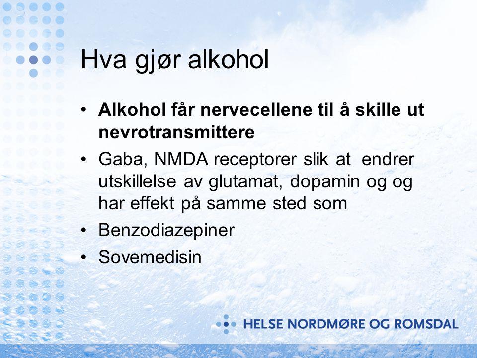 Hva gjør alkohol Alkohol får nervecellene til å skille ut nevrotransmittere.