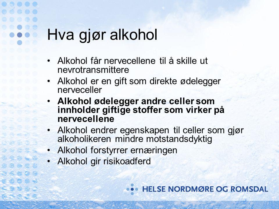 Hva gjør alkohol Alkohol får nervecellene til å skille ut nevrotransmittere. Alkohol er en gift som direkte ødelegger nerveceller.