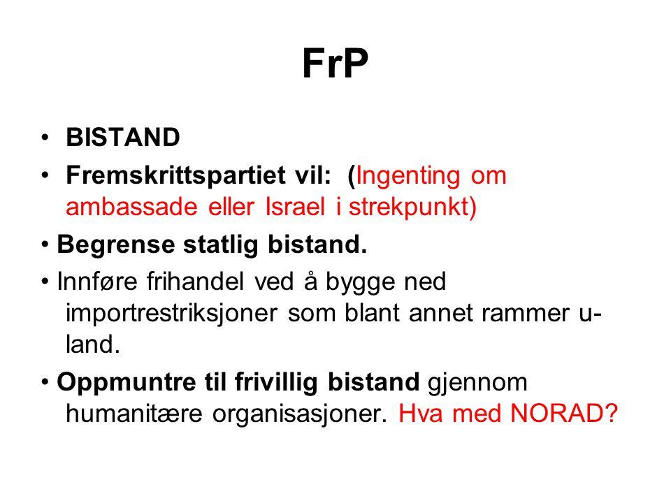 FrP BISTAND. Fremskrittspartiet vil: (Ingenting om ambassade eller Israel i strekpunkt) • Begrense statlig bistand.