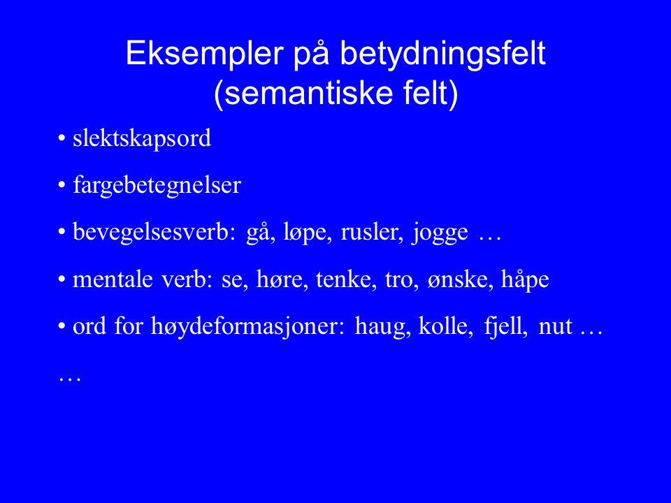 Eksempler på betydningsfelt (semantiske felt)