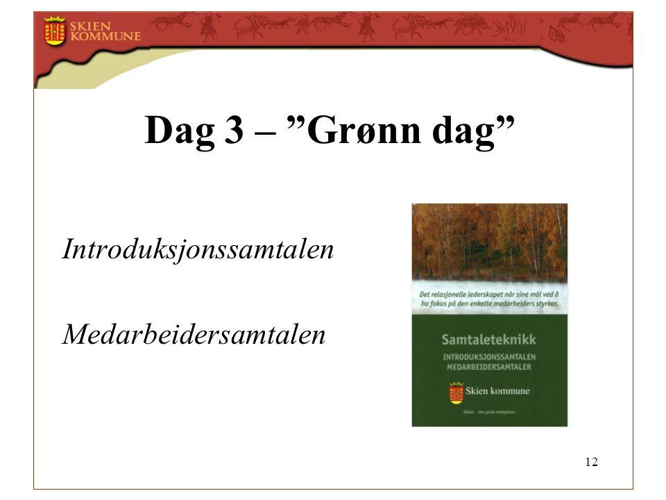 Dag 3 – Grønn dag Introduksjonssamtalen Medarbeidersamtalen