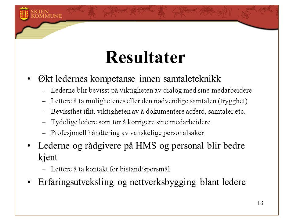 Resultater Økt ledernes kompetanse innen samtaleteknikk