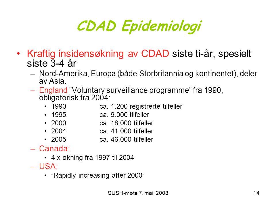 CDAD Epidemiologi Kraftig insidensøkning av CDAD siste ti-år, spesielt siste 3-4 år.