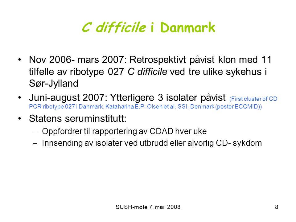 C difficile i Danmark Nov 2006- mars 2007: Retrospektivt påvist klon med 11 tilfelle av ribotype 027 C difficile ved tre ulike sykehus i Sør-Jylland.