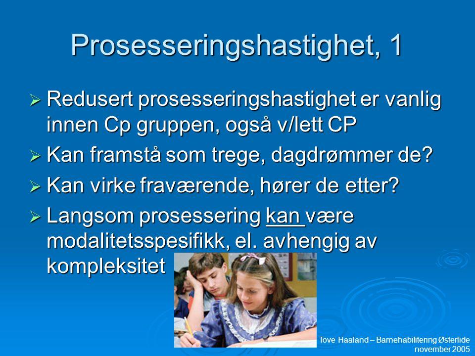 Prosesseringshastighet, 1