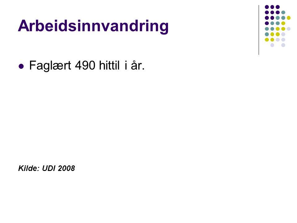 Arbeidsinnvandring Faglært 490 hittil i år. Kilde: UDI 2008