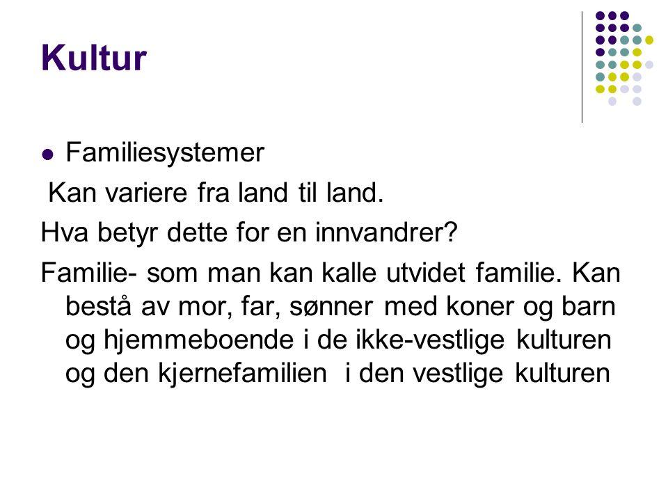 Kultur Familiesystemer Kan variere fra land til land.