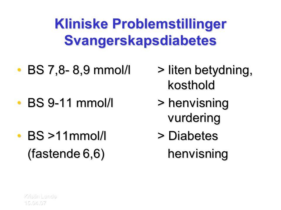 Kliniske Problemstillinger Svangerskapsdiabetes
